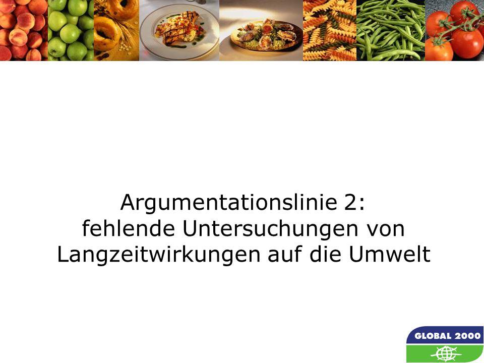 19 Argumentationslinie 2: fehlende Untersuchungen von Langzeitwirkungen auf die Umwelt