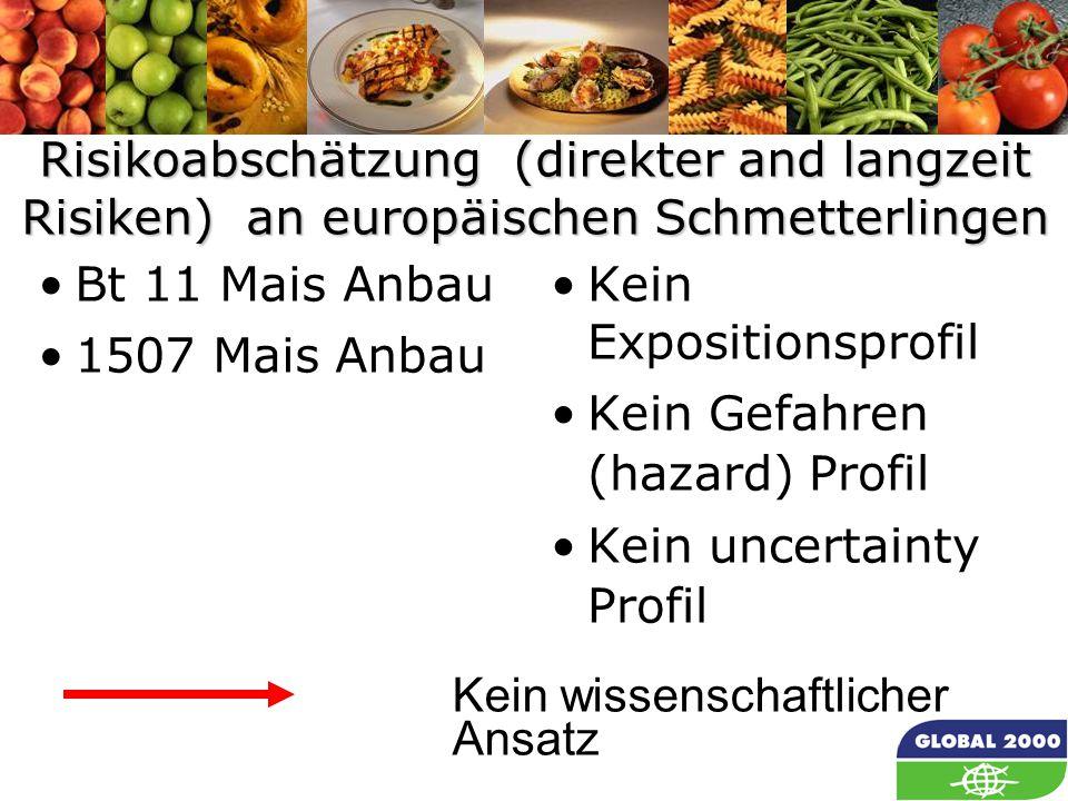 23 Risikoabschätzung (direkter and langzeit Risiken) an europäischen Schmetterlingen Bt 11 Mais Anbau 1507 Mais Anbau Kein Expositionsprofil Kein Gefa