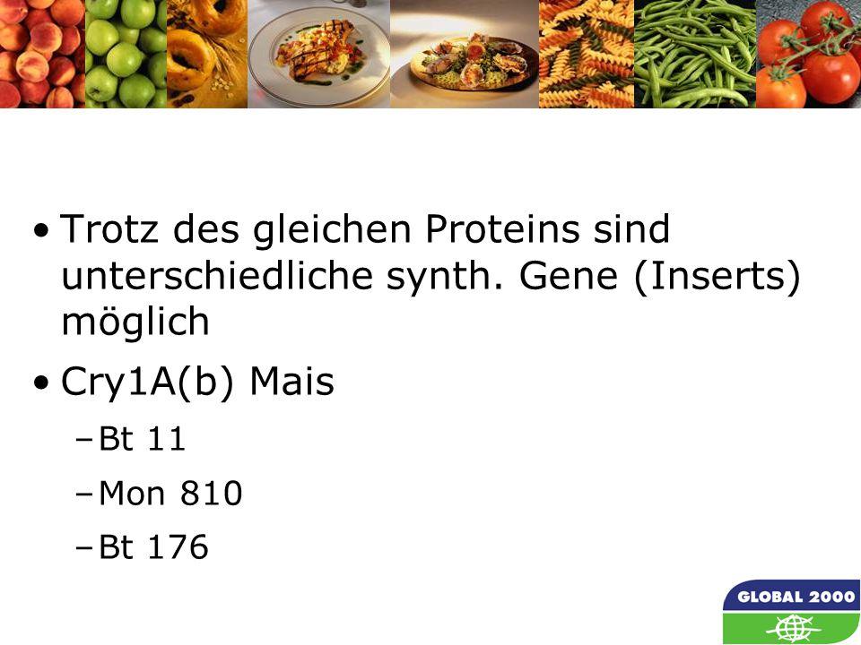29 Trotz des gleichen Proteins sind unterschiedliche synth.
