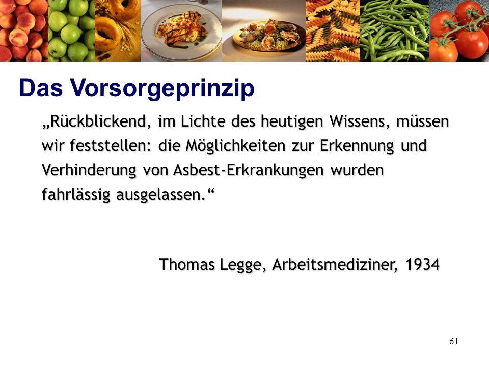 """61 """"Rückblickend, im Lichte des heutigen Wissens, müssen wir feststellen: die Möglichkeiten zur Erkennung und Verhinderung von Asbest-Erkrankungen wurden fahrlässig ausgelassen. Thomas Legge, Arbeitsmediziner, 1934 Das Vorsorgeprinzip"""