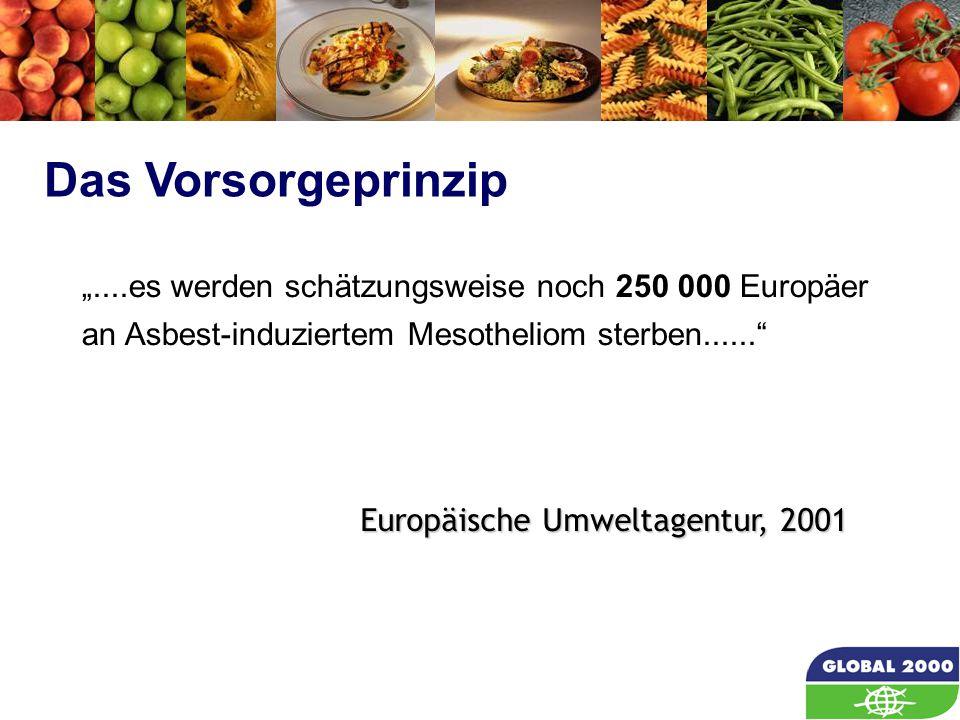 """62 """"....es werden schätzungsweise noch 250 000 Europäer an Asbest-induziertem Mesotheliom sterben......"""" Das Vorsorgeprinzip Europäische Umweltagentur"""