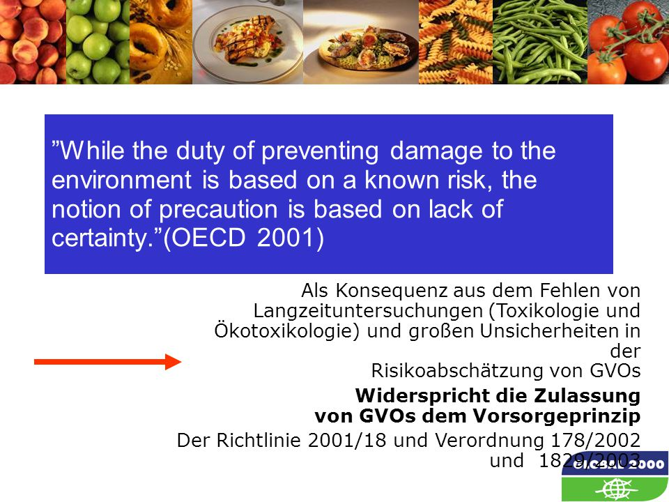 "63 ""While the duty of preventing damage to the environment is based on a known risk, the notion of precaution is based on lack of certainty.""(OECD 200"