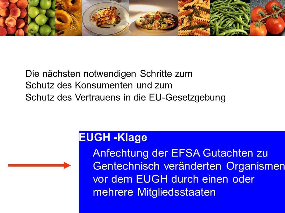65 EUGH -Klage Anfechtung der EFSA Gutachten zu Gentechnisch veränderten Organismen vor dem EUGH durch einen oder mehrere Mitgliedsstaaten Die nächsten notwendigen Schritte zum Schutz des Konsumenten und zum Schutz des Vertrauens in die EU-Gesetzgebung