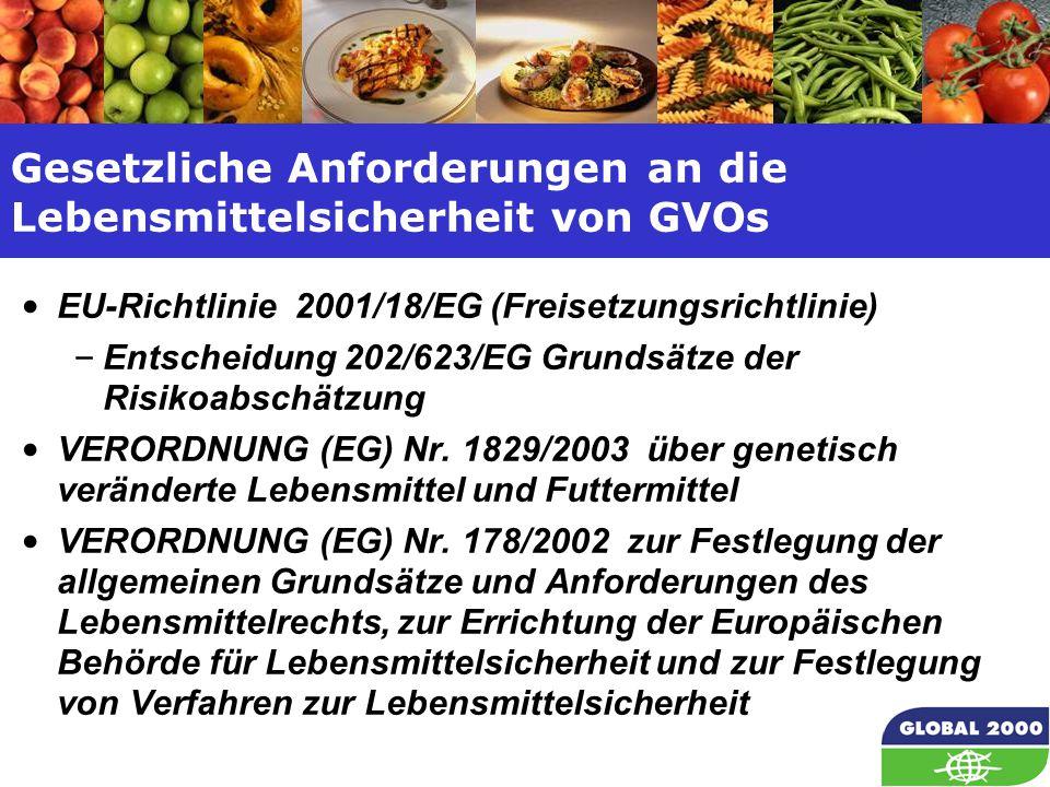 8 Gesetzliche Anforderungen an die Lebensmittelsicherheit von GVOs EU-Richtlinie 2001/18/EG (Freisetzungsrichtlinie) – Entscheidung 202/623/EG Grundsä