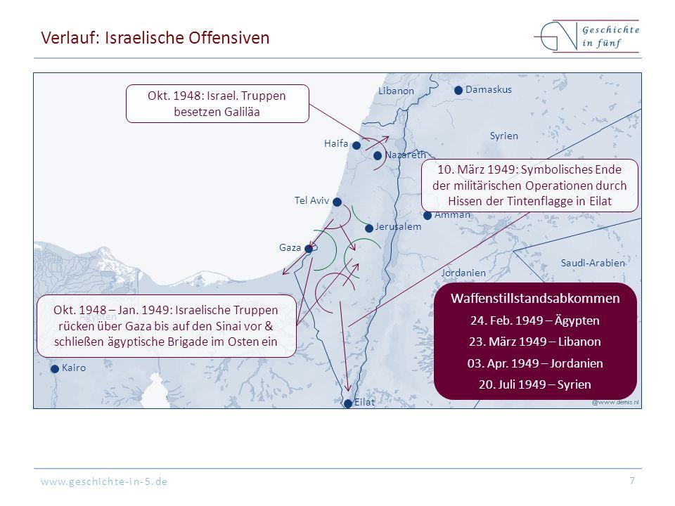www.geschichte-in-5.de Verlauf: Israelische Offensiven 7 Jerusalem Tel Aviv Haifa Eilat Gaza Libanon Syrien Jordanien Saudi-Arabien Ägypten Damaskus Amman Kairo Nazareth Waffenstillstandsabkommen 24.