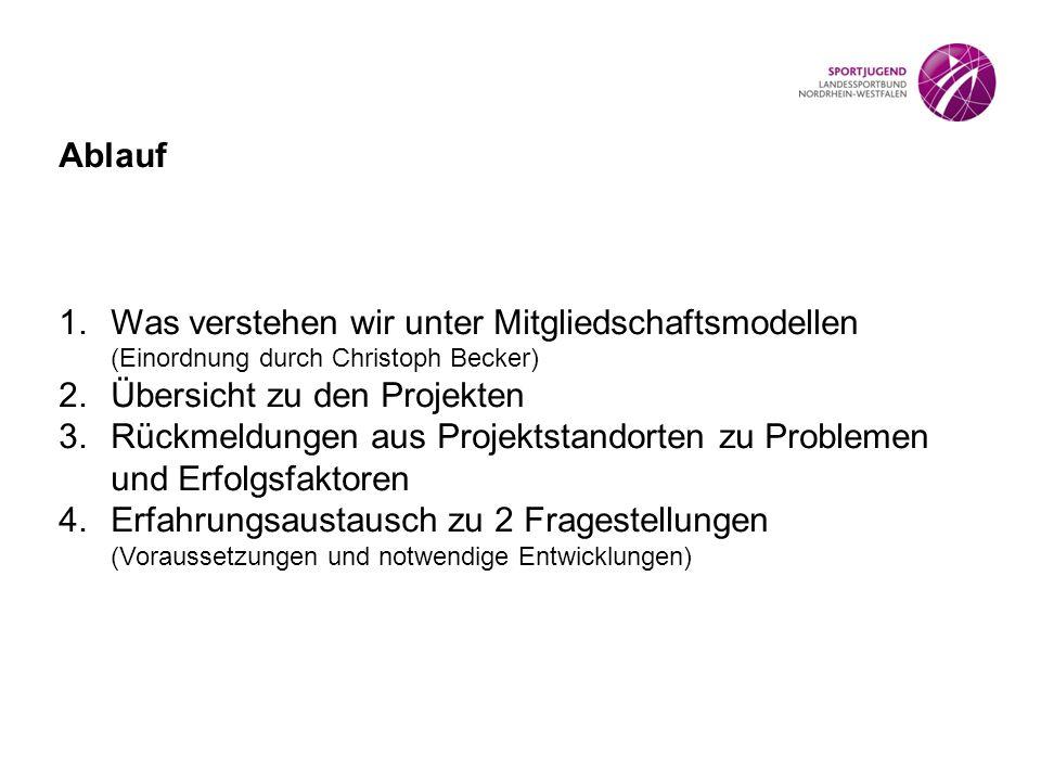 Ablauf 1.Was verstehen wir unter Mitgliedschaftsmodellen (Einordnung durch Christoph Becker) 2.Übersicht zu den Projekten 3.Rückmeldungen aus Projektstandorten zu Problemen und Erfolgsfaktoren 4.Erfahrungsaustausch zu 2 Fragestellungen (Voraussetzungen und notwendige Entwicklungen)