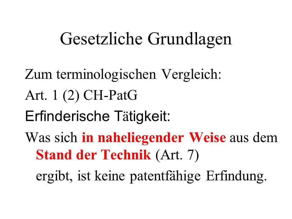 Gesetzliche Grundlagen Zum terminologischen Vergleich: Art. 1 (2) CH-PatG Erfinderische T ä tigkeit: Was sich in naheliegender Weise aus dem Stand der