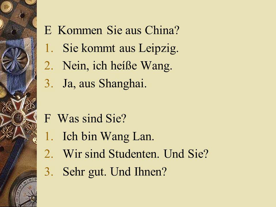 E Kommen Sie aus China. 1.Sie kommt aus Leipzig. 2.Nein, ich heíße Wang.