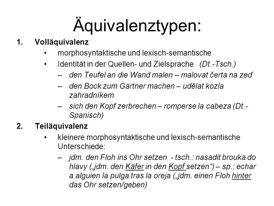 Äquivalenztypen: 1.Volläquivalenz morphosyntaktische und lexisch-semantische Identität in der Quellen- und Zielsprache (Dt.-Tsch.) –den Teufel an die Wand malen – malovat čerta na zeď –den Bock zum Gärtner machen – udělat kozla zahradníkem –sich den Kopf zerbrechen – romperse la cabeza (Dt.- Spanisch) 2.Teiläquivalenz kleinere morphosyntaktische und lexisch-semantische Unterschiede: –jdm.