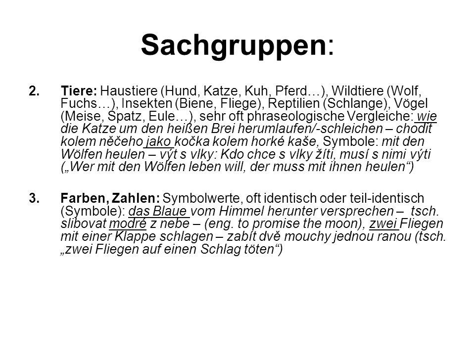 """Sachgruppen: 2.Tiere: Haustiere (Hund, Katze, Kuh, Pferd…), Wildtiere (Wolf, Fuchs…), Insekten (Biene, Fliege), Reptilien (Schlange), Vögel (Meise, Spatz, Eule…), sehr oft phraseologische Vergleiche: wie die Katze um den heißen Brei herumlaufen/-schleichen – chodit kolem něčeho jako kočka kolem horké kaše, Symbole: mit den Wölfen heulen – výt s vlky: Kdo chce s vlky žíti, musí s nimi výti (""""Wer mit den Wölfen leben will, der muss mit ihnen heulen ) 3.Farben, Zahlen: Symbolwerte, oft identisch oder teil-identisch (Symbole): das Blaue vom Himmel herunter versprechen – tsch."""