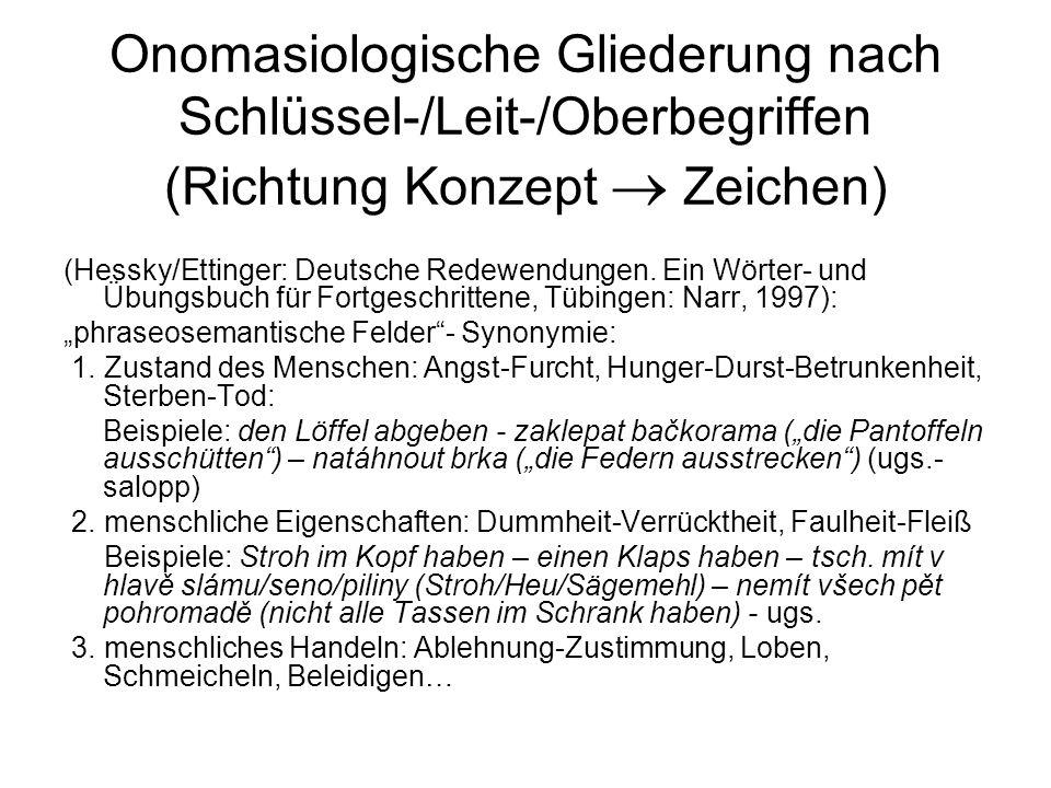 Onomasiologische Gliederung nach Schlüssel-/Leit-/Oberbegriffen (Richtung Konzept  Zeichen) (Hessky/Ettinger: Deutsche Redewendungen. Ein Wörter- und