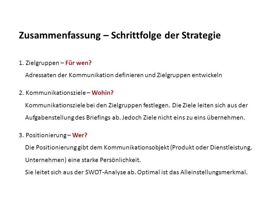 Zusammenfassung – Schrittfolge der Strategie 1. Zielgruppen – Für wen? Adressaten der Kommunikation definieren und Zielgruppen entwickeln 2. Kommunika