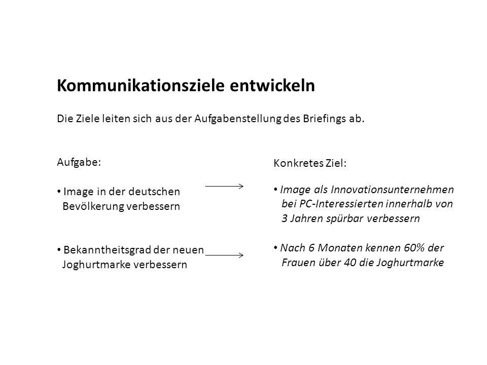 Ziele formulieren und kombinieren Beispiel: Ein neuer Staubsauger von Bosch Hausgeräte (Relaxx: sehr gute Saugkraft und sehr leise!) wird am Markt eingeführt … Kognitives Ziel (Wahrnehmung) Bekanntmachung der neuen Staubsaugermarke innerhalb von neun Monaten nach dem Start der Kampagne bei mindestens 14 % der deutschen Haushalte, überwiegend Frauen zwischen 49 und 65 Jahren.
