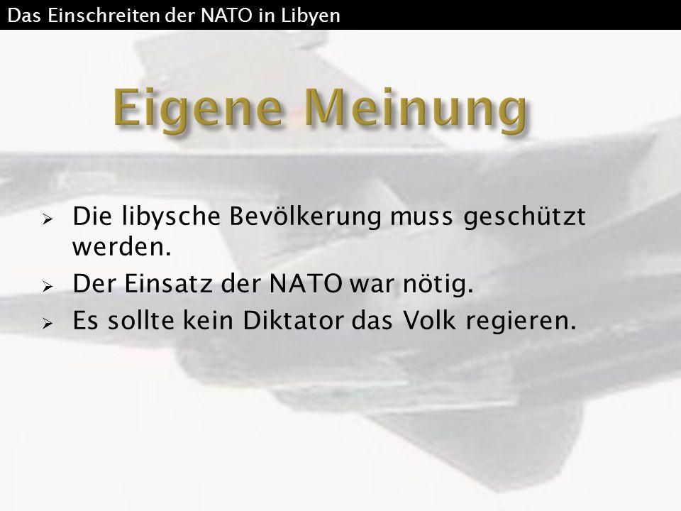  Die libysche Bevölkerung muss geschützt werden.  Der Einsatz der NATO war nötig.  Es sollte kein Diktator das Volk regieren. Das Einschreiten der