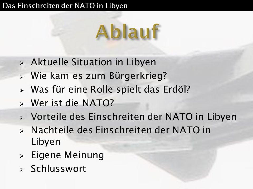  Aktuelle Situation in Libyen  Wie kam es zum Bürgerkrieg?  Was für eine Rolle spielt das Erdöl?  Wer ist die NATO?  Vorteile des Einschreiten de
