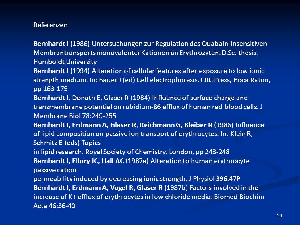 23 Referenzen Bernhardt I (1986) Untersuchungen zur Regulation des Ouabain-insensitiven Membrantransports monovalenter Kationen an Erythrozyten. D.Sc.
