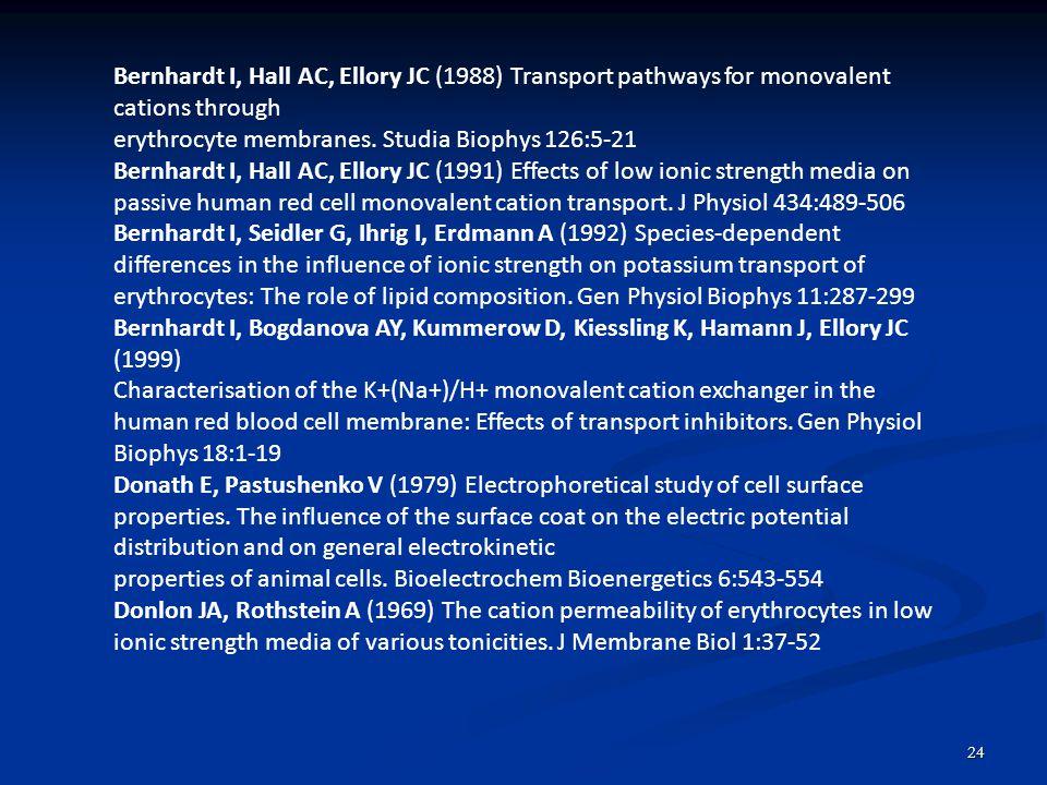 24 Bernhardt I, Hall AC, Ellory JC (1988) Transport pathways for monovalent cations through erythrocyte membranes. Studia Biophys 126:5-21 Bernhardt I