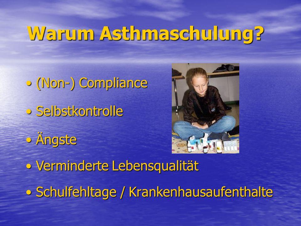 Warum Asthmaschulung? Warum Asthmaschulung? Schulfehltage / Krankenhausaufenthalte Schulfehltage / Krankenhausaufenthalte (Non-) Compliance (Non-) Com