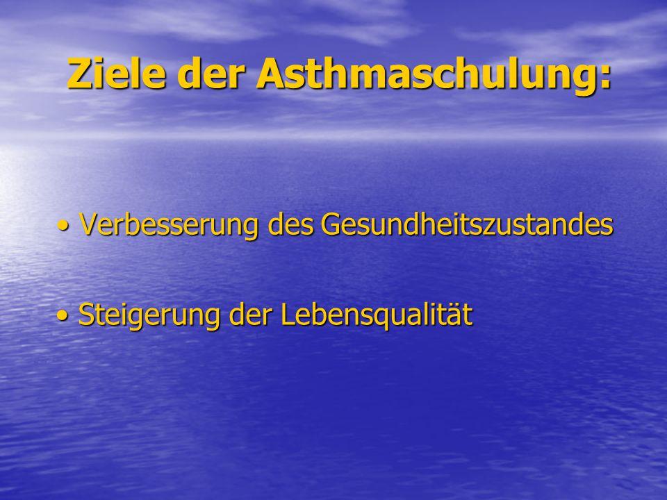 Ziele der Asthmaschulung: Verbesserung des Gesundheitszustandes Verbesserung des Gesundheitszustandes Steigerung der Lebensqualität Steigerung der Leb