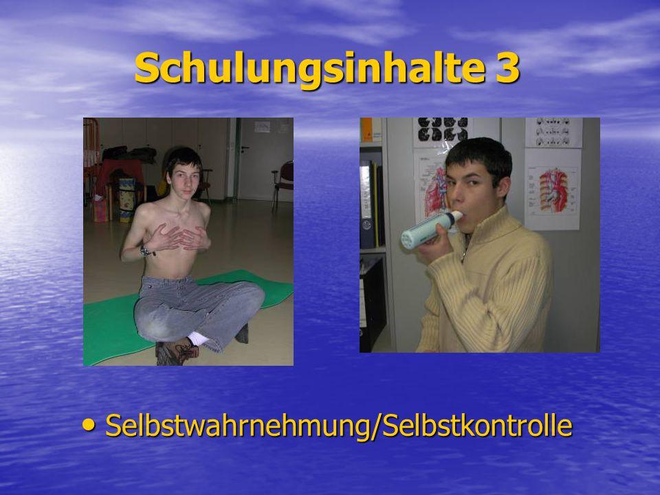 Schulungsinhalte 3 Selbstwahrnehmung/Selbstkontrolle Selbstwahrnehmung/Selbstkontrolle