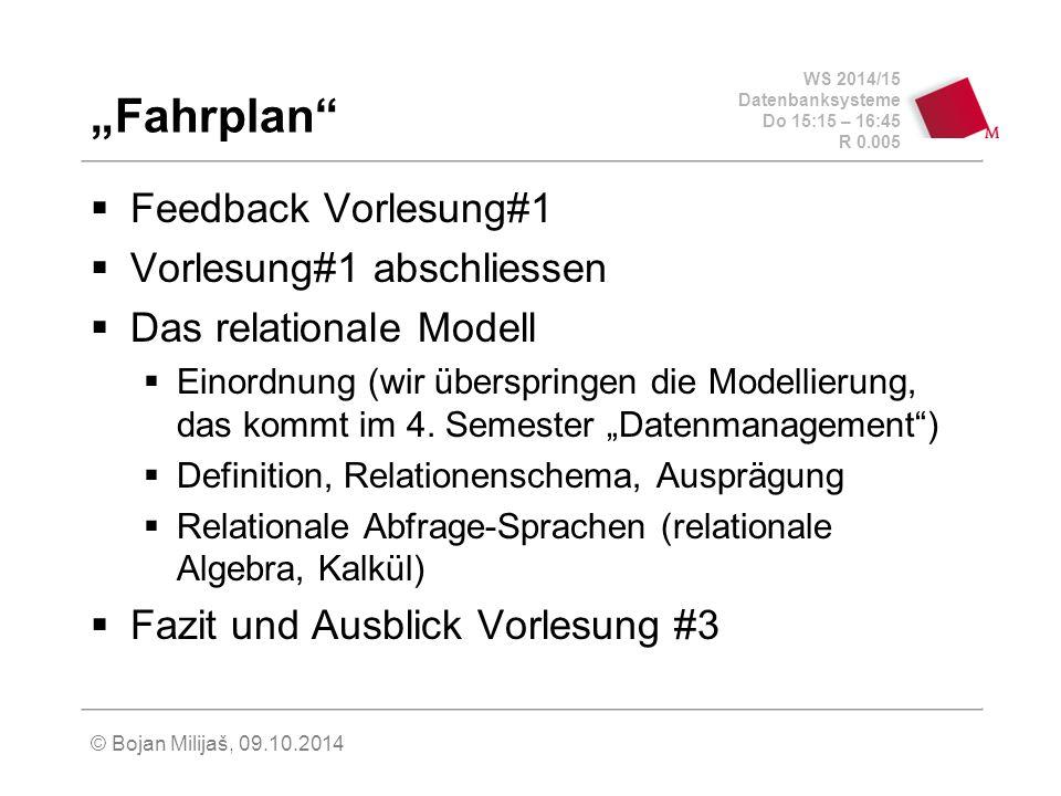 WS 2014/15 Datenbanksysteme Do 15:15 – 16:45 R 0.005 © Bojan Milijaš, 09.10.2014 Relationenschema (3)  Trennung zwischen Schema und Ausprägung  sch(R) – Menge der Attribute einer Relation  R – die aktuelle Ausprägung  dom(A) – Domäne eines Attributs  sch(R) = {A 1,..., A n }  R  dom(A 1 ) x...