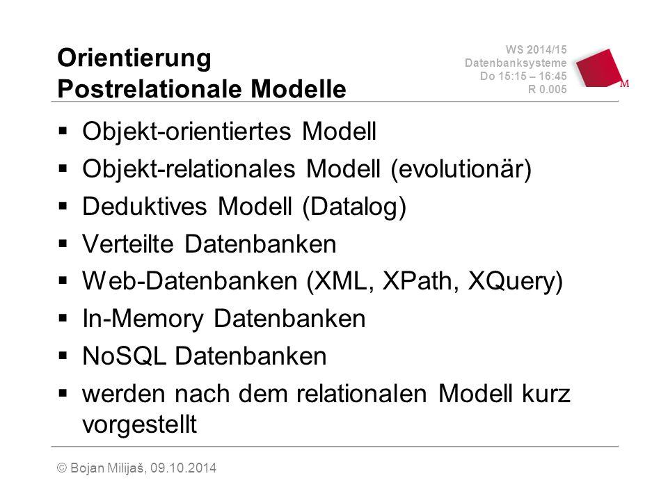 WS 2014/15 Datenbanksysteme Do 15:15 – 16:45 R 0.005 © Bojan Milijaš, 09.10.2014 Orientierung Postrelationale Modelle  Objekt-orientiertes Modell  O