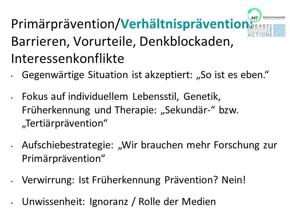 """Primärprävention/Verhältnisprävention: Barrieren, Vorurteile, Denkblockaden, Interessenkonflikte Gegenwärtige Situation ist akzeptiert: """"So ist es ebe"""