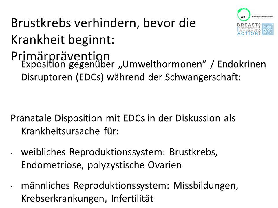 """Brustkrebs verhindern, bevor die Krankheit beginnt: Primärprävention Exposition gegenüber """"Umwelthormonen"""" / Endokrinen Disruptoren (EDCs) während der"""