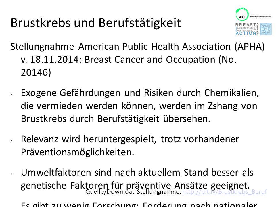 Brustkrebs und Berufstätigkeit Stellungnahme American Public Health Association (APHA) v. 18.11.2014: Breast Cancer and Occupation (No. 20146) Exogene