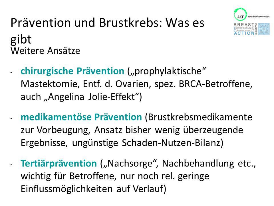 """Prävention und Brustkrebs: Was es gibt Weitere Ansätze chirurgische Prävention (""""prophylaktische"""" Mastektomie, Entf. d. Ovarien, spez. BRCA-Betroffene"""