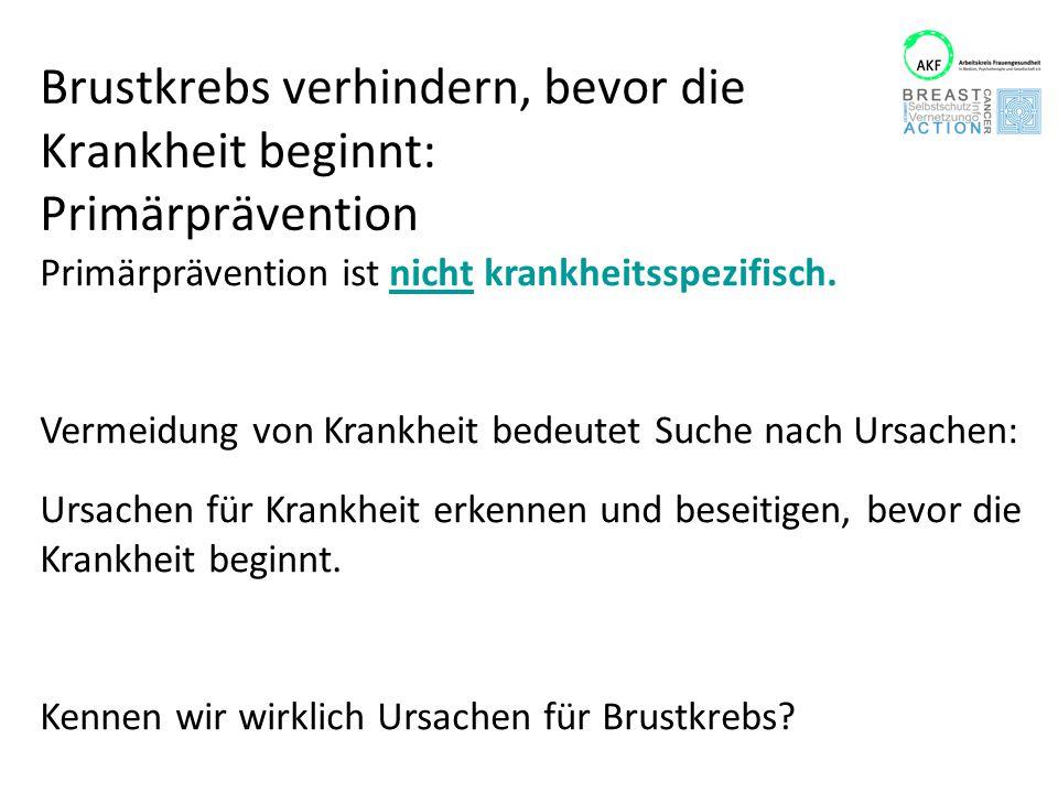 Primärpävention und Brustkrebs: Verhaltensprävention (Individueller Ansatz) Sog.