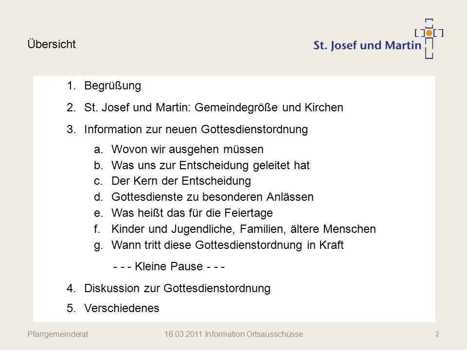 Pfarrgemeinderat Gemeindegröße und Kirchen             3 16.03.2011 Information Ortsausschüsse