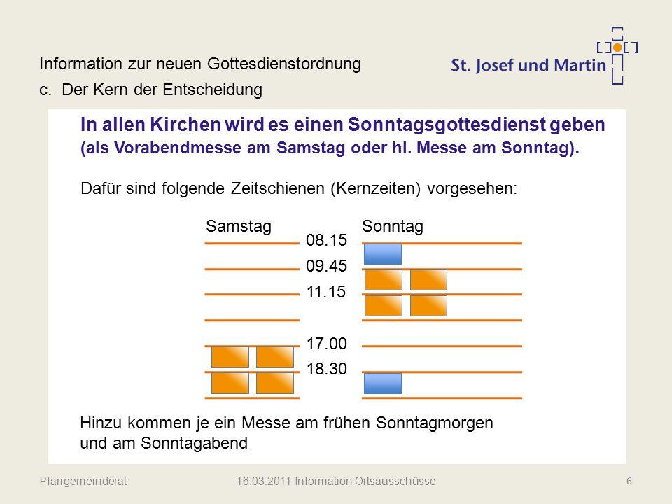 Pfarrgemeinderat Information zur neuen Gottesdienstordnung c.