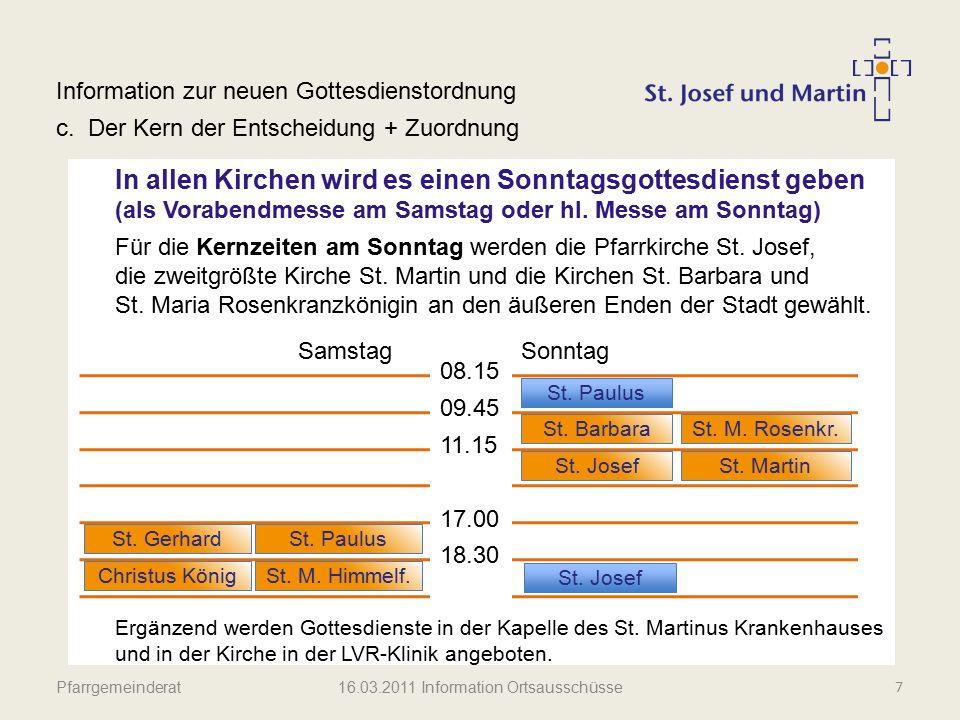 Pfarrgemeinderat Information zur neuen Gottesdienstordnung d.