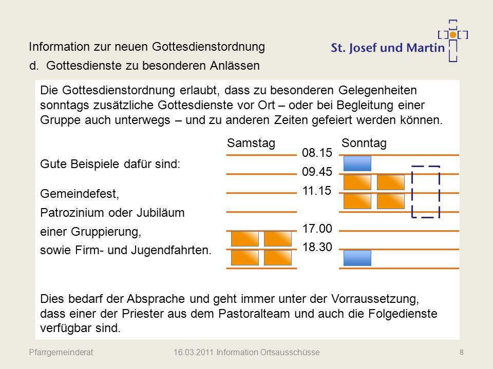 Pfarrgemeinderat Information zur neuen Gottesdienstordnung e.