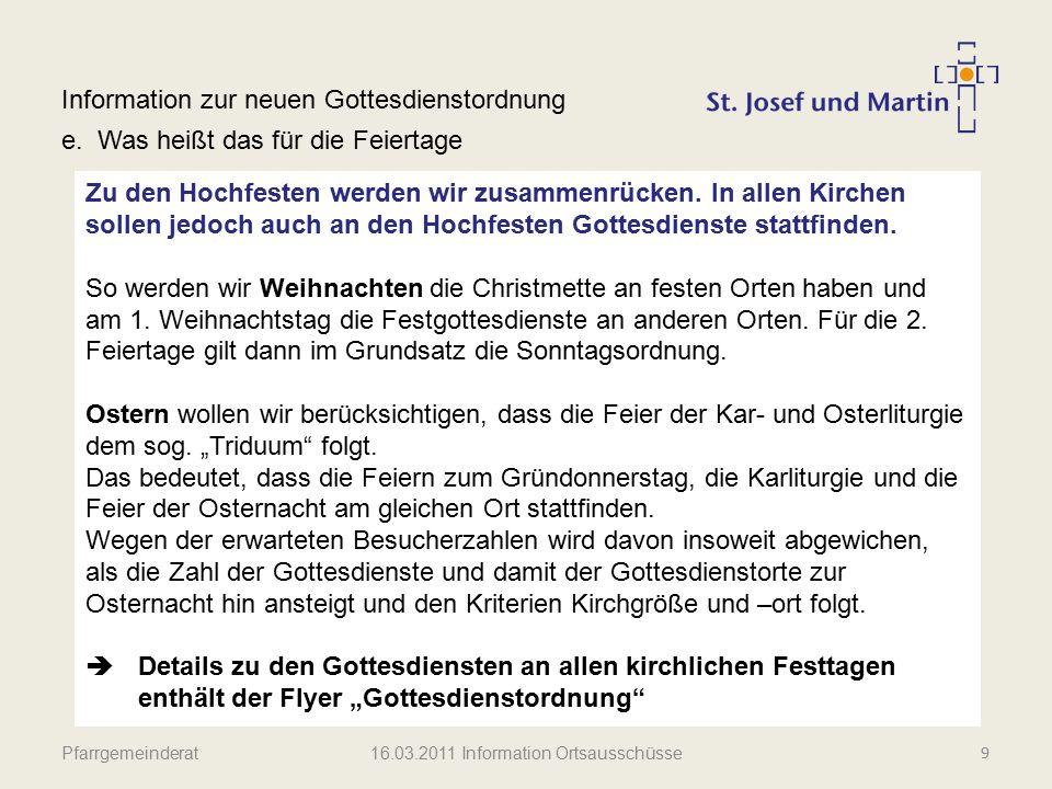 Pfarrgemeinderat Information zur neuen Gottesdienstordnung f.