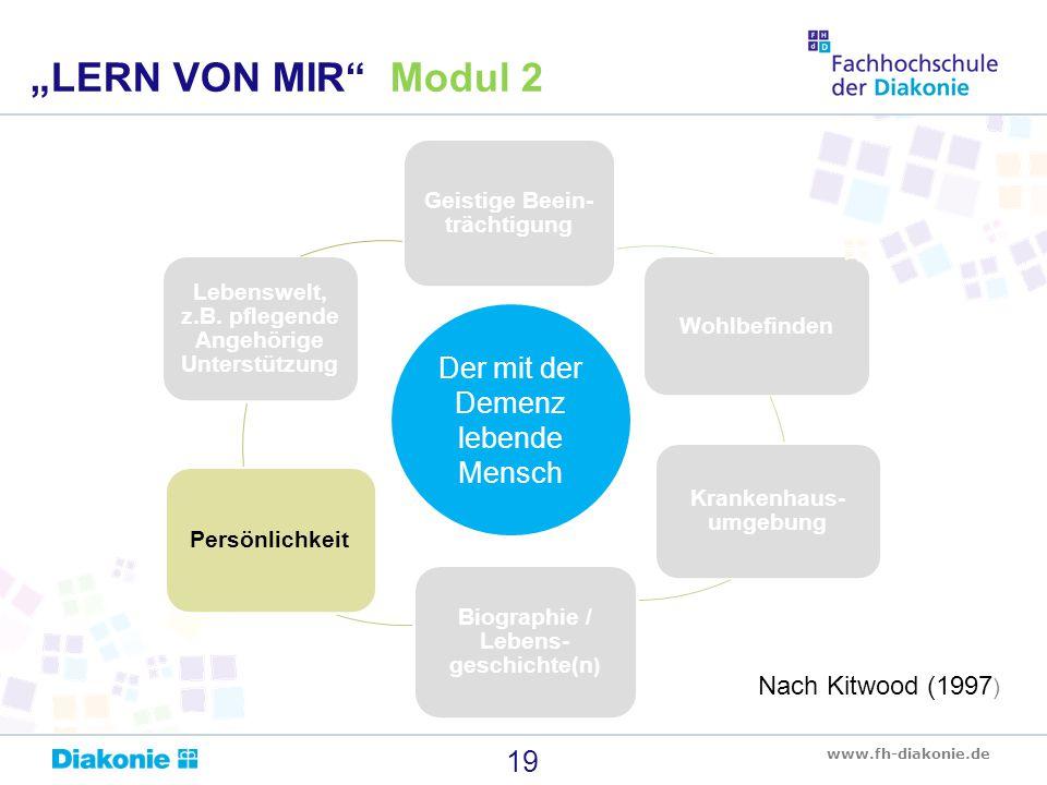 www.fh-diakonie.de Geistige Beein- trächtigung Wohlbefinden Krankenhaus- umgebung Biographie / Lebens- geschichte(n ) Persönlichkeit Lebenswelt, z.B.