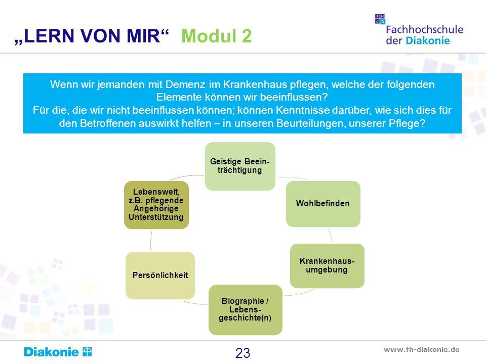 www.fh-diakonie.de Wenn wir jemanden mit Demenz im Krankenhaus pflegen, welche der folgenden Elemente können wir beeinflussen? Für die, die wir nicht