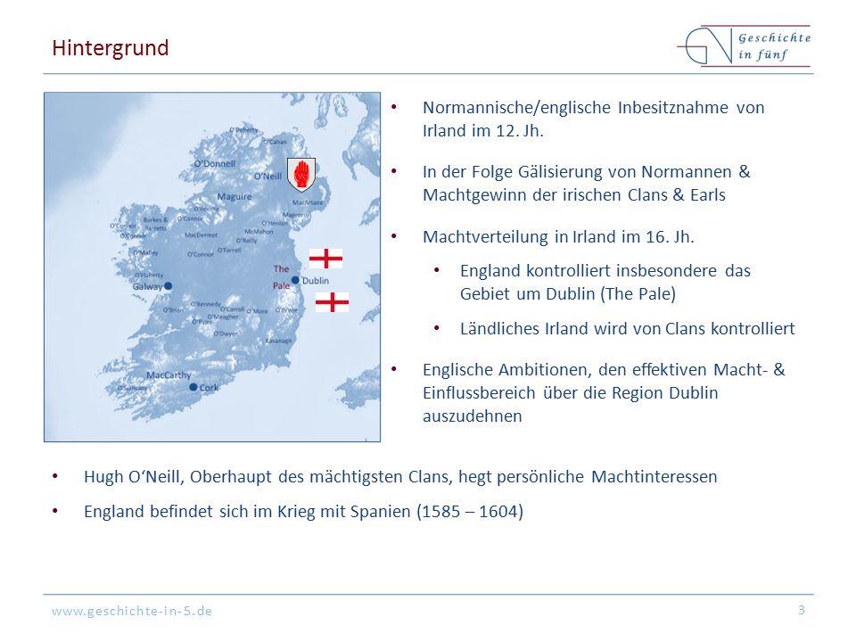 www.geschichte-in-5.de Hintergrund Normannische/englische Inbesitznahme von Irland im 12. Jh. In der Folge Gälisierung von Normannen & Machtgewinn der