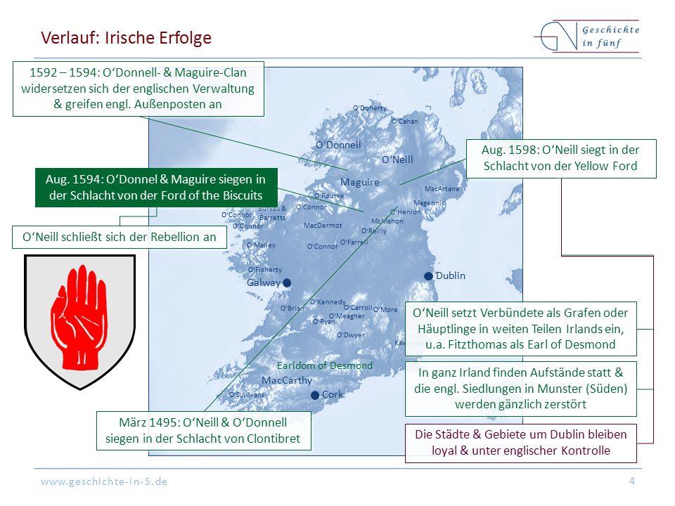 www.geschichte-in-5.de Verlauf: Irische Erfolge 4 O'Donnell O'Neill Maguire MacCarthy Earldom of Desmond O'Sullivans Kavanagh O'BryneO'Brian O'Flahert