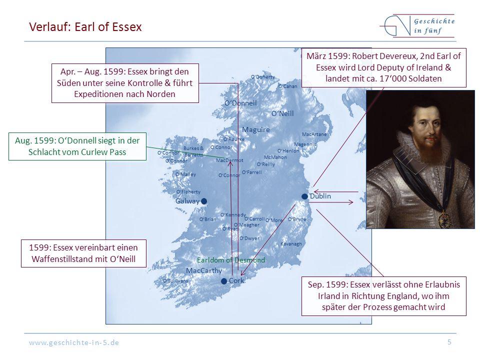 www.geschichte-in-5.de Verlauf: Earl of Essex 5 O'Donnell O'Neill Maguire MacCarthy Earldom of Desmond O'Sullivans Kavanagh O'BryneO'Brian O'Flaherty