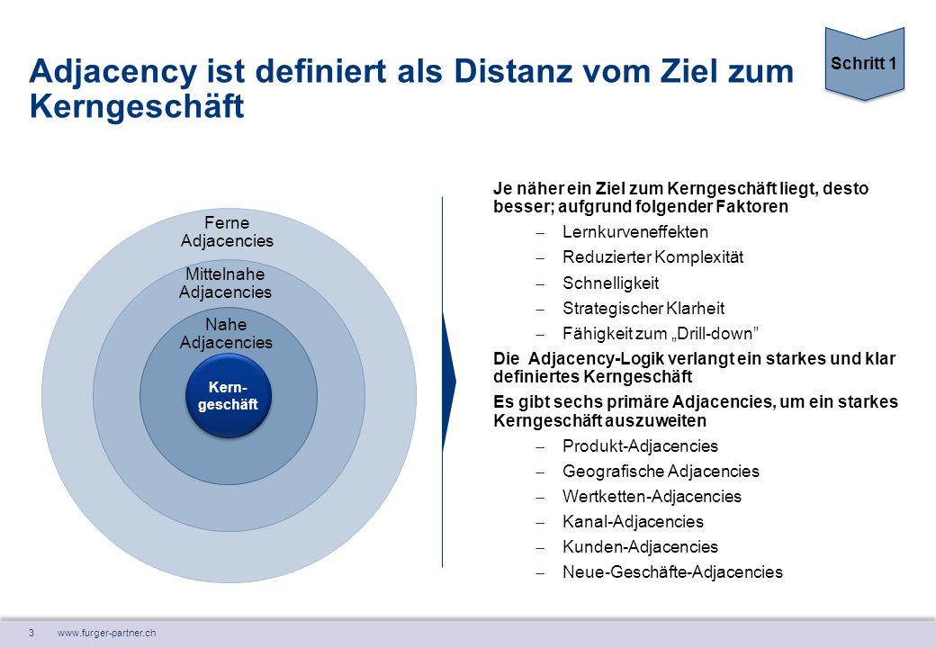 3 www.furger-partner.ch Adjacency ist definiert als Distanz vom Ziel zum Kerngeschäft Je näher ein Ziel zum Kerngeschäft liegt, desto besser; aufgrund