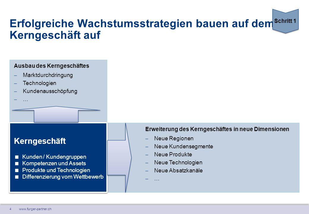 4 www.furger-partner.ch Erweiterung des Kerngeschäftes in neue Dimensionen  Neue Regionen  Neue Kundensegmente  Neue Produkte  Neue Technologien 