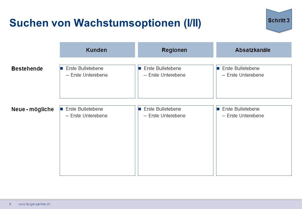 8 www.furger-partner.ch Suchen von Wachstumsoptionen (I/II) KundenRegionenAbsatzkanäle Bestehende Erste Bulletebene ― Erste Unterebene Erste Bulletebe