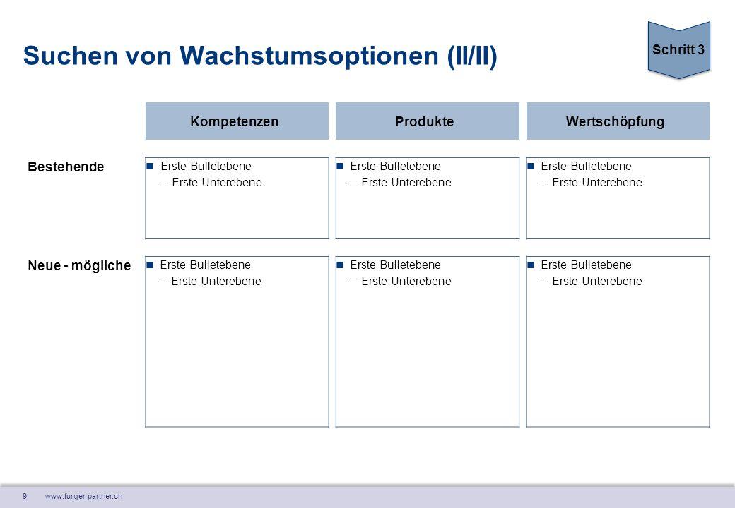 9 www.furger-partner.ch Suchen von Wachstumsoptionen (II/II) KompetenzenProdukteWertschöpfung Bestehende Erste Bulletebene ― Erste Unterebene Erste Bu