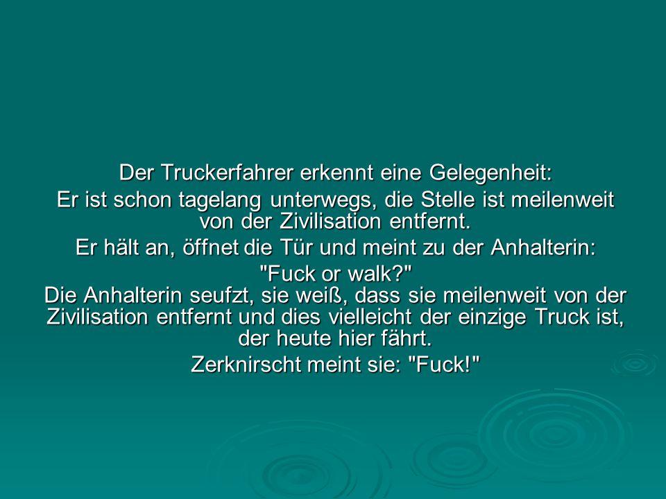 Der Truckerfahrer erkennt eine Gelegenheit: Er ist schon tagelang unterwegs, die Stelle ist meilenweit von der Zivilisation entfernt.