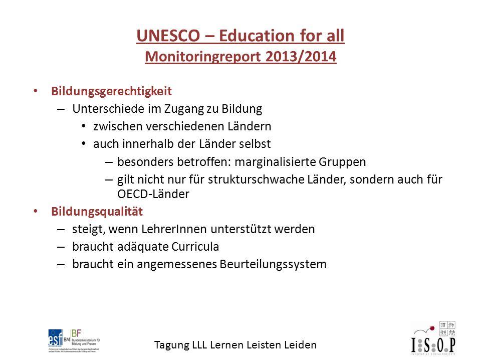 Tagung LLL Lernen Leisten Leiden Bildungsgerechtigkeit – Unterschiede im Zugang zu Bildung zwischen verschiedenen Ländern auch innerhalb der Länder se