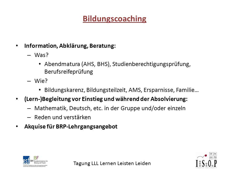 Tagung LLL Lernen Leisten Leiden Information, Abklärung, Beratung: – Was? Abendmatura (AHS, BHS), Studienberechtigungsprüfung, Berufsreifeprüfung – Wi