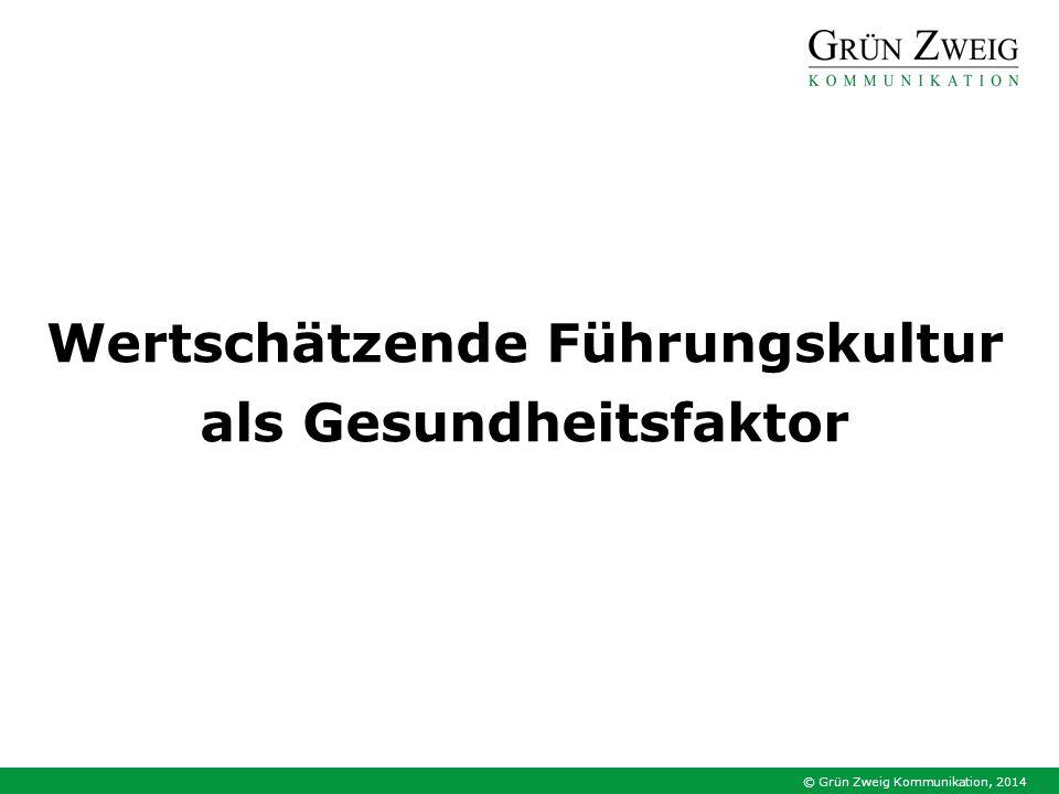© Grün Zweig Kommunikation, 2014 Wertschätzende Führungskultur als Gesundheitsfaktor