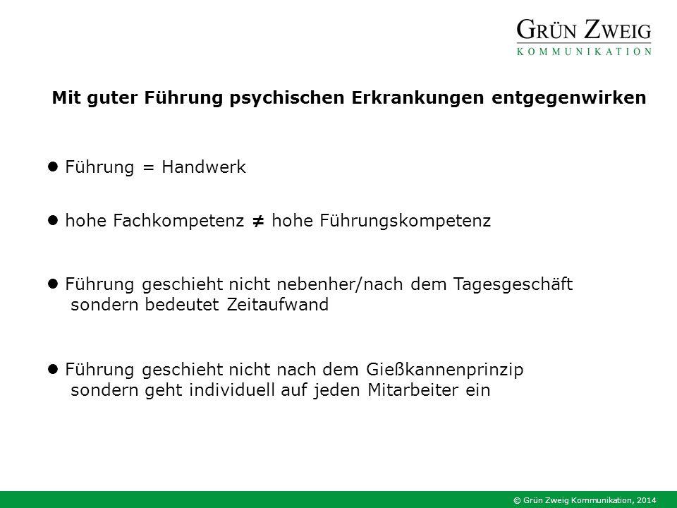 © Grün Zweig Kommunikation, 2014 Mit guter Führung psychischen Erkrankungen entgegenwirken Führung = Handwerk Führung geschieht nicht nebenher/nach de
